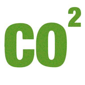 """Scritta """"CO2"""" in verde con sfondo bianco; riferimento alle emissioni"""